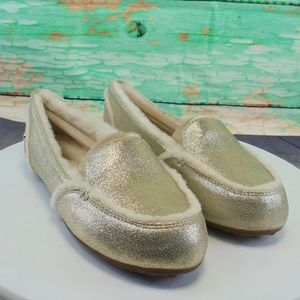 UGG Hailey  Sherpa Lined Metallic Silver Slippers